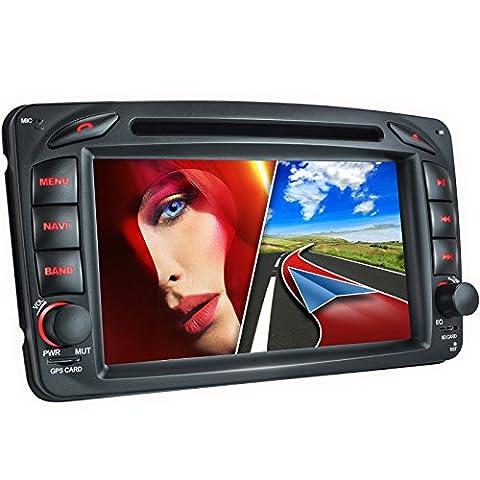 MB-01EU Autoradio für Mercedes W203 W168 C209 W209 W463 + Moniceiver / Naviceiver mit GPS Navigation + NAVI Software inkl. Europa Karten (48 Länder) + Bluetooth Freisprechfunktion + 7'' / 18cm Touchscreen Display + USB + Micro SD + AUX + 2 DIN (Doppel DIN) Standardeinbaugröße inkl.