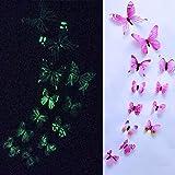 TAOtTAO 12pcs leuchtender Schmetterlings-Entwurfs-Abziehbild-Kunst-Wand-Aufkleber-Raum-magnetische Hauptdekor (Rosa)