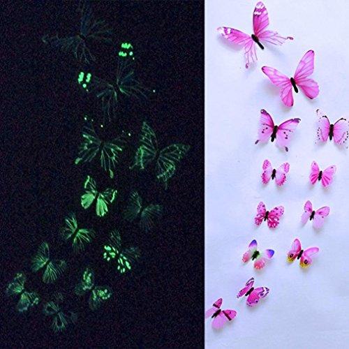 TAOtTAO 12pcs leuchtender Schmetterlings-Entwurfs-Abziehbild-Kunst-Wand-Aufkleber-Raum-magnetische Hauptdekor (Rosa) (Selbstgemachte Stofftiere)
