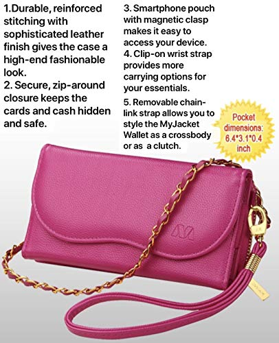 Mybat Universal Schutzhülle/Brieftasche für Apple iPhone Samsung LG Motorola (PU-Leder) Hot Pink Passend für folgende Modelle: