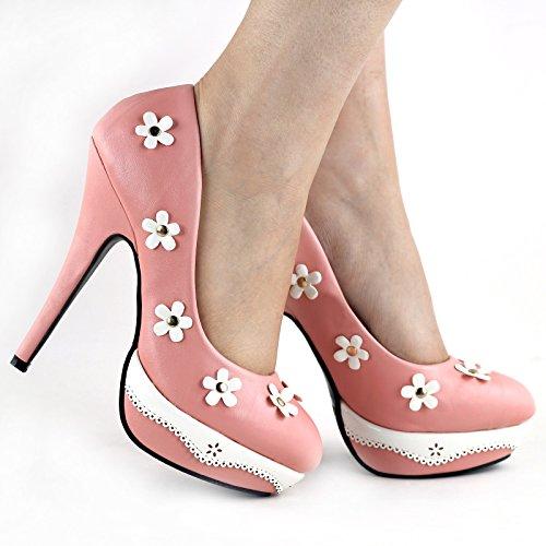 Visualizza storia romantica nero/rosa fiore pizzo Stud Platform High Heel Shoes, LF30469 Baby rosa