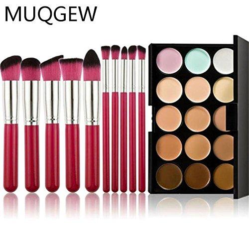 MuSheng(TM) Pinceaux15 Couleurs Palette Correcteur Contour 10 pc de bambou ensemble + Pinceaux pour le visage (Rose)