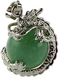 TOOGOO(R) 1 PCS Natural 15mm Piedra Preciosa Bola Colgante Envuelta Plata Aleacion Dragon para Mujeres Encantada Joyeria Collar - Aventurina Verde