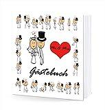 lustiges Hochzeitsgästebuch Hochzeit Gästebuch 210 x 210 mm 144 Seiten mit Hardcover und Herz leer Mr & Mrs weiß zum ausfüllen elegant das Spass macht lustig kreativ mal anders romantisch