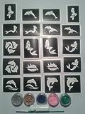 Delphin und Meerjungfrau Motto Glitter Tattoo-Set mit Schablonen + + Kleber Glitter Mädchen Kinder Geburtstagsgeschenk