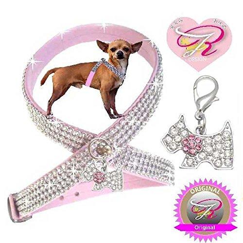 XS Rosa mit Hunde Charm Chihuahua Hunde Strass Geschirr Hundegeschirr Softgeschirr (Hundegeschirr Strass Rosa)