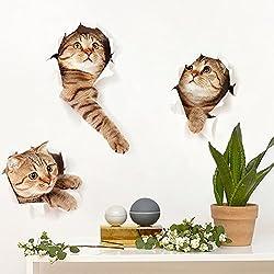 Etiquetas engomadas autoadhesivas desprendibles de la pared del gato de la historieta autoadhesiva 3D Decoraciones caseras para las ventanas de la cocina del tocador del cuarto de baño de la sala de estar de las cabezas de los niños,40*73cm