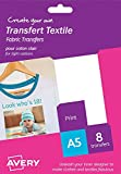 Avery HTT01 A5 Printable Fabric Transfers for Light Cottons, Inkjet Printers Only - 8 x A5 Transfers per Pack