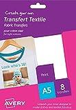 Avery HTT01 - Papel transfer para tejidos claros, 8 hojas, color blanco