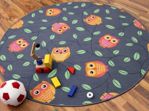 Tapis de jeu pour enfant chouette en gris rond - 4 tailles disponibles