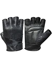Fully Padded Fingerless Bus Driving Wheelchair Gym Lamb Skin Gloves 312 Black