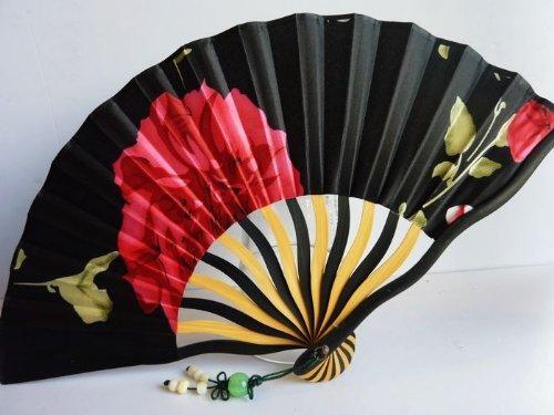 Tang dynasty (TM) Hochwertige Japanische Seide und Satins Handheld Fan Hand Fan - Red - Fan Japanese Folding
