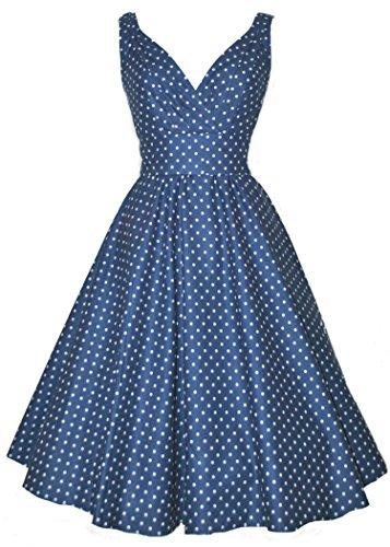 LUOUSE 1950 Polka Dot Vintage Femmes Robe Trapèze Soirée Bleu