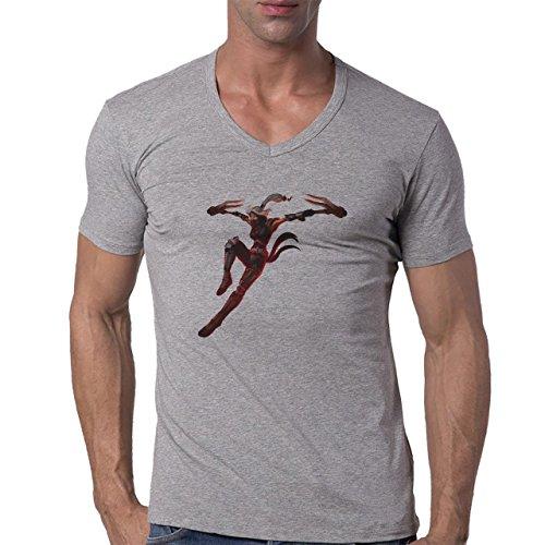 League Of Legends Silverfang Akali Herren V-Neck T-Shirt Grau
