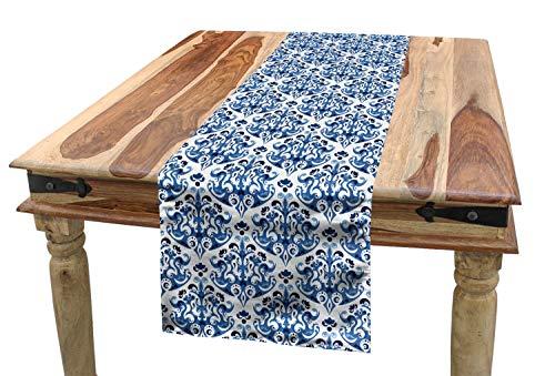 ABAKUHAUS Blau Tischläufer, Indigo viktorianisches Design, Esszimmer Küche Rechteckiger Dekorativer Tischläufer, 40 x 180 cm, Benzinblau Türkis und Weiß