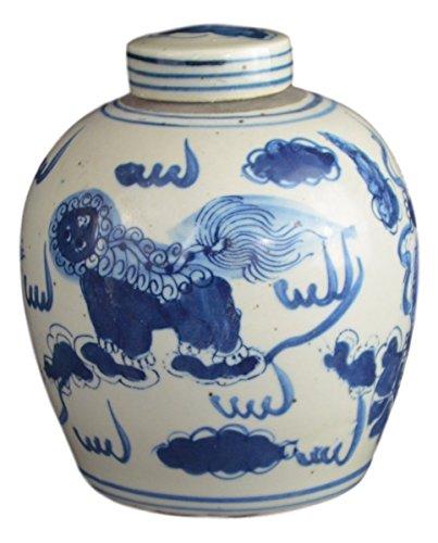 Antik Stil Blau und Weiß Porzellan Löwe Dancing Keramik verdeckt Jar Vase, China Ming Stil, Jingdezhen (LJ2) (Ginger Jar Vase)