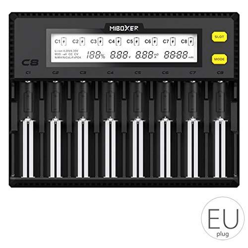 C8 Litio Caricabatteria LCD Display 8 bay Batteria Portatile del Caricatore Miboxer 18650 Li-Ion LiFePO4 Ni-MH Ni-CD AA