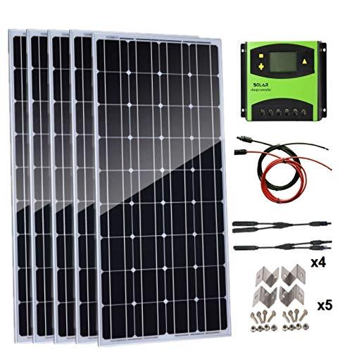 AUECOOR 500 Watt Solarpanel-Set: 5 Stück 100 W monokristallines Solarpanel mit 60 A Solar-Laderegler für Wohnmobil Boote Off-Gitter-System