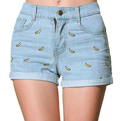 Minetom Jeanshose Damen Shorts Denim High Waist Vintage Rose Hot Pants Basic Kurz Hose Banane 2 DE 42/Taille 81CM (Bestickt Damen-denim Ärmelloses Shirt)