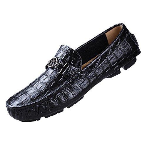 Conducción Hombres Mujeres Negro Cuero Mocasines Son Planas De Mocasines Zapatos Barco 2 De Anguang Retro Unisex Caer Podría Del awTwr