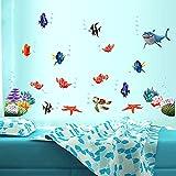 E-TOP Wall Sticker Removibile Autoadesivo Vinile Muro Art Adesivi PVC Impermeabile Carta da Parati Fai da Te Decorazione Bambini Baby Camera da Letto Bagno (alla Ricerca di Nemo)