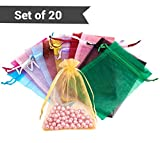#8: TiedRibbons Organza bags | return gift bags | return gift bags | return gift bags in bulk | Organza pouch for wedding return gifts (15 cm X 10 cm, Assorted Color ) Set of 20 Pouches