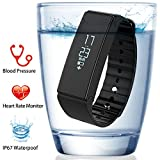 Fitness Tracker, FUNBOT IP67 Wasserdichte Smart Fitness Armbänder mit Pulsmesser, Blutdruckmessgerät & Blut Sauerstoffmonitor, Schrittzähler, Schlafüberwachung, Kalorienzähler, Entfernungsmesser, Aktivitätstracker für Android und iOS (Schwarz)