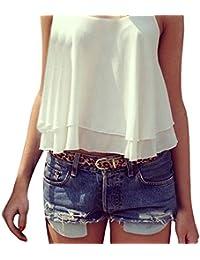 SUNNOW® Chiffon Sexy Crop top court tops Dos Nu T-shirt -Femme
