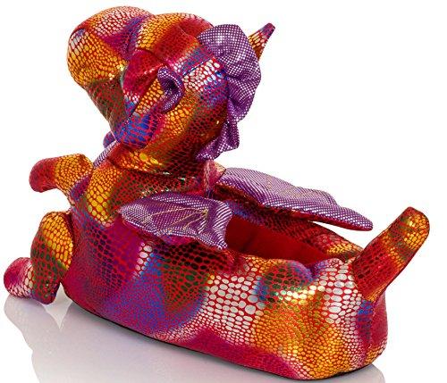 Cute Femmes, femmes, Filles nouveauté 3D Animal Pantoufles Différents Styles, Tailles 3-8 Rose Dragon