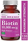 Carbamide Forte High Potency Biotin 10000mcg Maximum Strength for Hair Growth - 120