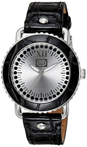 Marc Ecko Women's 38mm Black Leather Band Steel Case Quartz White Dial Analog Watch E11509L2