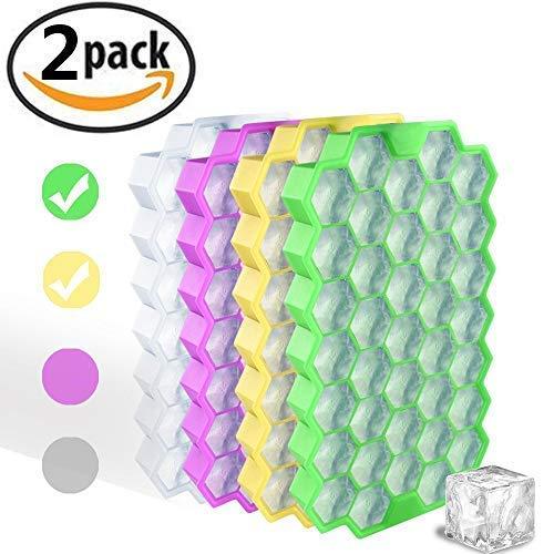 HoneyHolly Food Grade Silikon Hexagon EIS Würfel Trays mit Deckel, Idee Küche Werkzeuge zu DIY Spezielle kleine Chilling Cubes für Getränke, Whisky, Wein und kleine Durchmesser Flaschen (2er Pack)