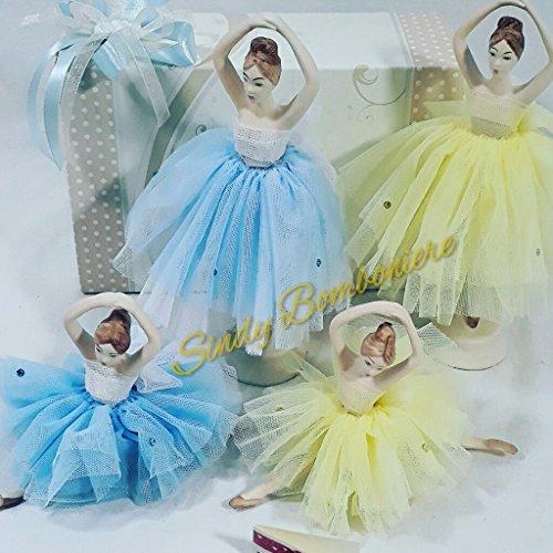 Bomboniere Cherry & Peach Linie Cinderella Ballerina piccola (dimensione 11cm circa) con tulle giallo + sacchetto con confetti in tulle