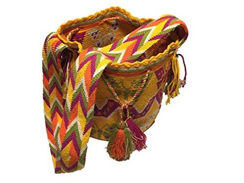 Mochila Wayuu - Bolso cruzados de algodón para mujer Large, color Multicolor, talla Large