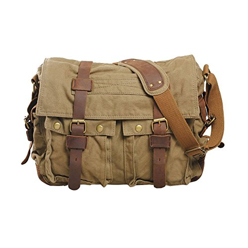 Sports Soft Canvas Casual Bags Shoulder Green Crossbody School Messenger large Satchel Vintage Bagarmy Vrikoo Military Ivfgm76Yyb