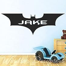 "Windsor Designers–Batman personalizable superhéroe logo vinilo adhesivo decorativo para pared, diseño de silueta, vinilo, negro, -Large -SIZE 120cm x 40cm (48"" x 16"")"