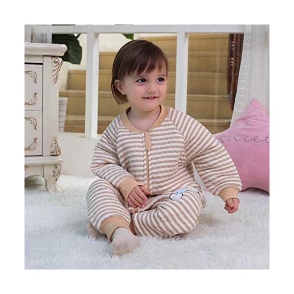 Saco de Dormir para bebé con Patas Saco de Dormir de Invierno de Manga Larga con Forro cálido y pies, Pijama de Mono… 3
