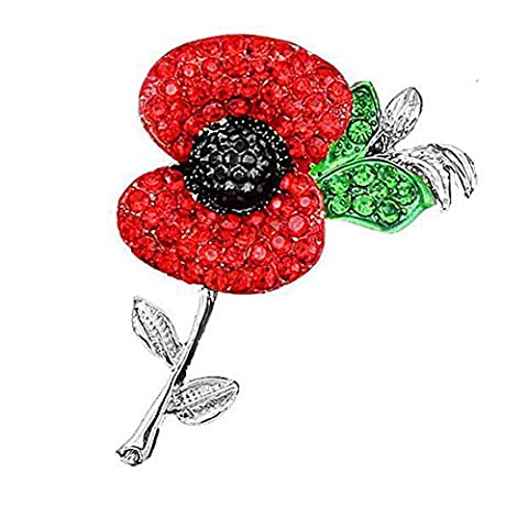 Pack 2 United Kindom Remembrance Memorial Day Crystal Poppy Soldier Gift Glitter Red Flower Brooch Badge Pin (Silver)