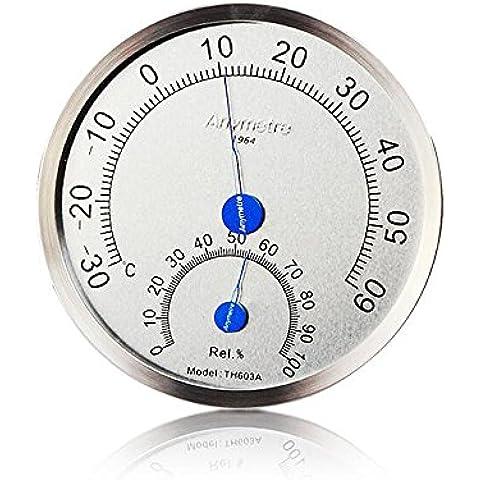 iHome&iLife Igrometro, Vetro Rotondo Analogico Termometro per Umidificatori Interni