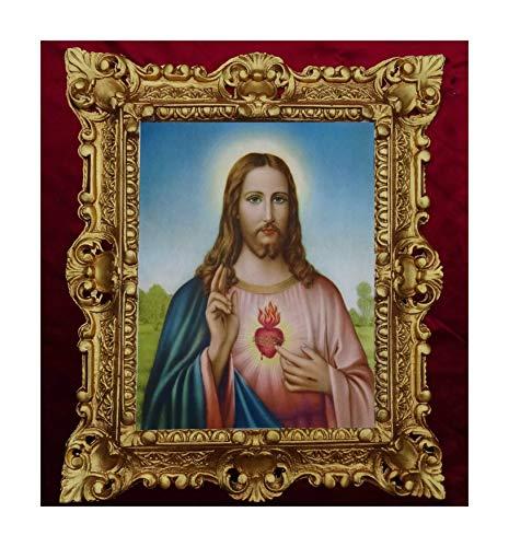 Lnxp GEMÄLDE Sacro Cuore DI GESU Jesus Ikonen Bilder Heiligenbild mit Rahmen 45x38cm