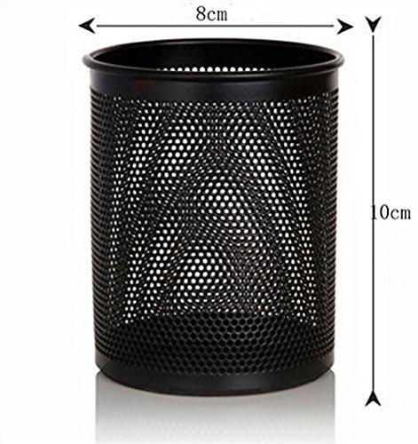 cdet 1x Stifteköcher rund schwarz Metall Mesh Pen Pot Make-up Box Container Schreibtisch Tidy Home Office Supplies Geburtstag Geschenk - 3
