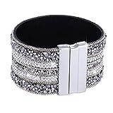 Morella mujeres pulsera brillante ancho refinada con piedras de zirconia y cierre magnético blanco plata