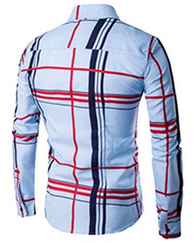 Chemise à Carreaux Manches Longues pour Homme Bleu