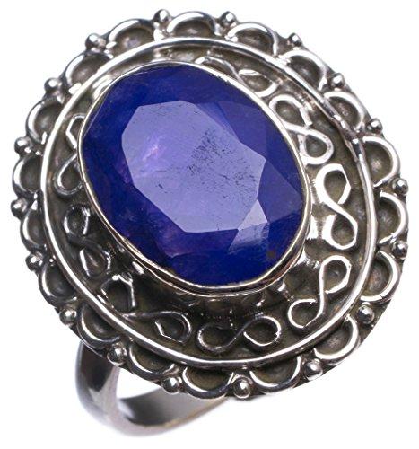 Ring Krone Versprechen Set (stargems (TM) natur Saphir handgefertigt Einzigartige 925Sterling Silber Ring, UK Größe P 1/2)