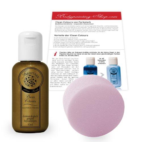 Bronze Parfüm (Farbstark Bodypainting Farben - hautfreundliche Körperfarbe in Profi Qualität (auch für Airbrush geeignet), Set: 50 ml Farbe Bronze + Schminkschwamm)