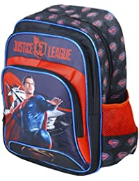 Justin League Super Man Blue/Red Super Hero School Bags For Kids (12 Inches)