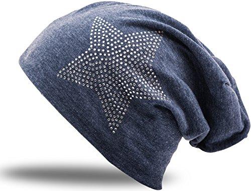 Jersey Baumwolle elastisches Long Slouch Beanie Unisex Herren Damen mit Strass Stern Steinen Mütze Heather in 35 verschiedenen Farben (2) (Heather Grey-Blue)
