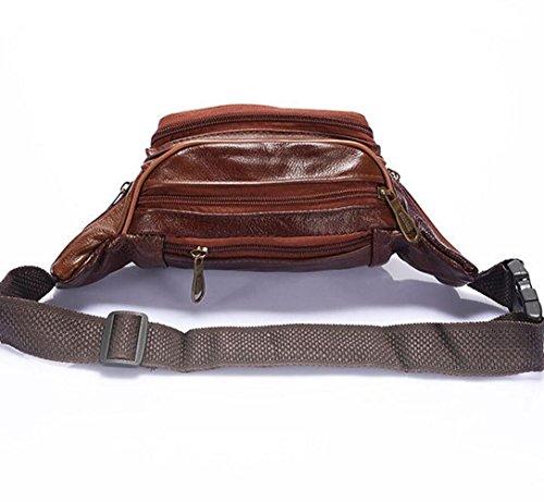Bag Marrone Borsa Tracolla Pack Per marrone-rosso Pu Portafoglio Petto Fanny Messenger Retrò Pelle