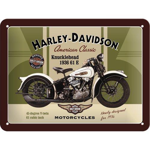 Cartel de chapa 15x20 -Harley-Davidson Knucklehead