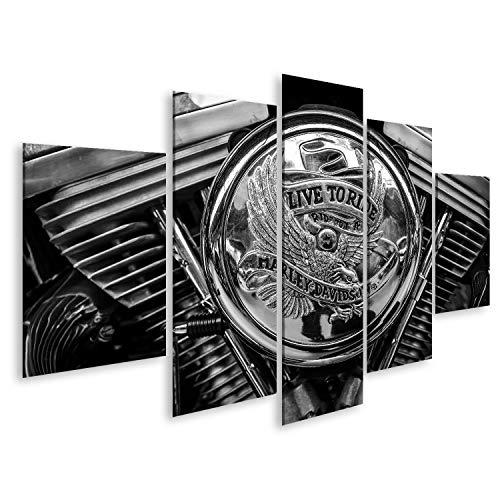 bilderfelix® Bild auf Leinwand Berlin, Deutschland - 17. Mai 2014: Detail des Motorrads -HD. Schwarz auf Weiß. 27. Oldtimertag Berlin - Brandenburg Wandbild, Poster, Leinwandbild QCA -
